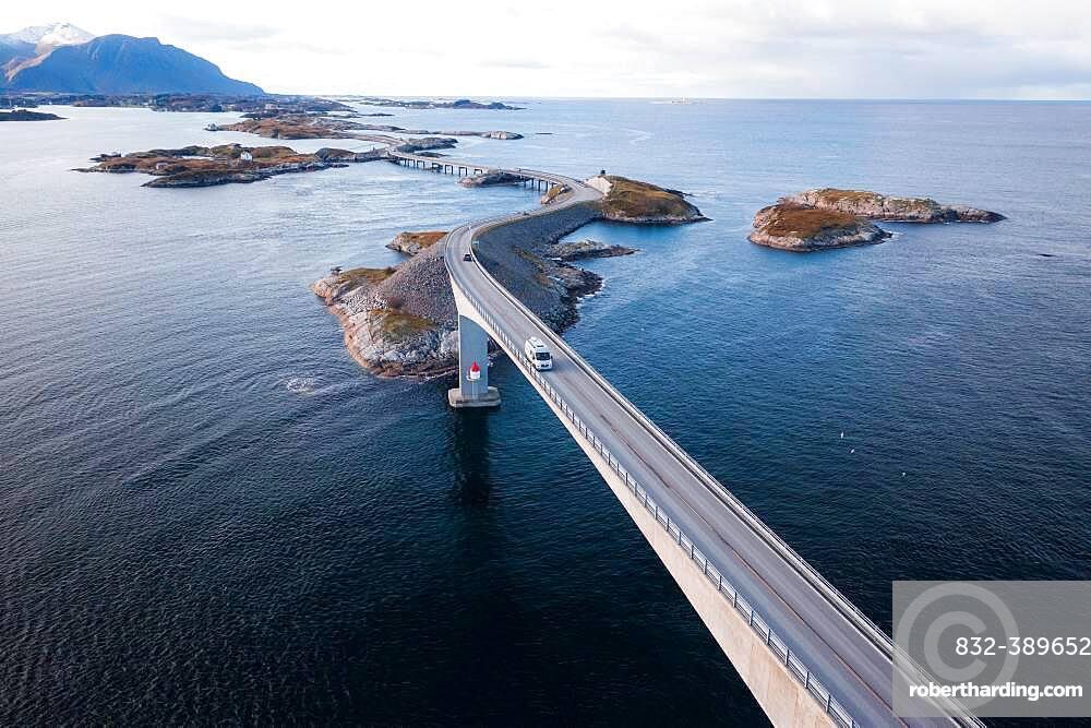 UAV recording, campervan on the island link road Atlantic Ocean Road, Vevang, Norway, Europe