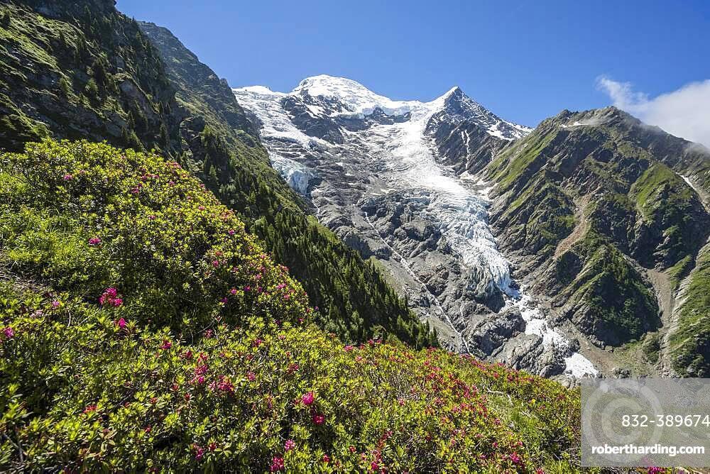 Mountain landscape, view of glacier Glacier de Taconnaz, hiking La Jonction, Chamonix, Haute-Savoie, France, Europe