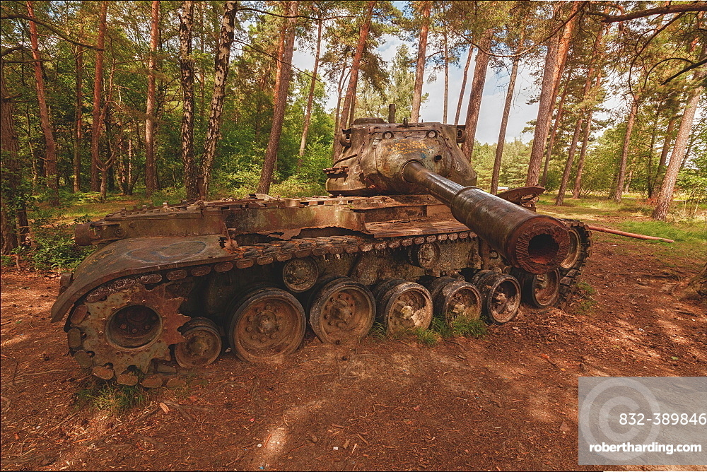 Lost Place, old rusted tank in the forest, Stolberg, North Rhine-Westphalia, Germany, Europe