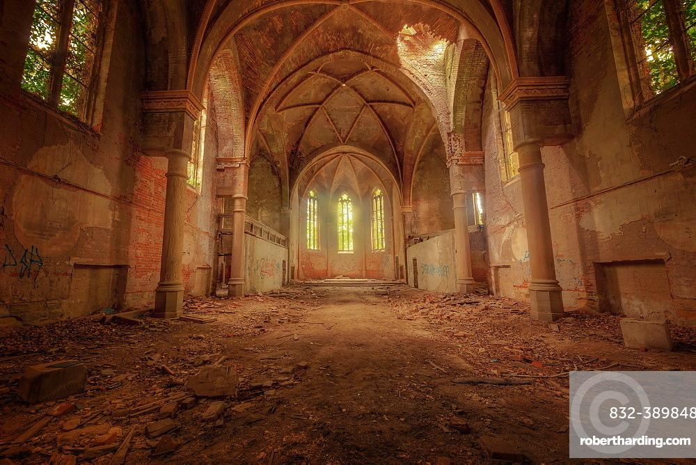 Ruined church, church St. Nicolai, Lost Place, Zeitz, Saxony-Anhalt, Germany, Europe