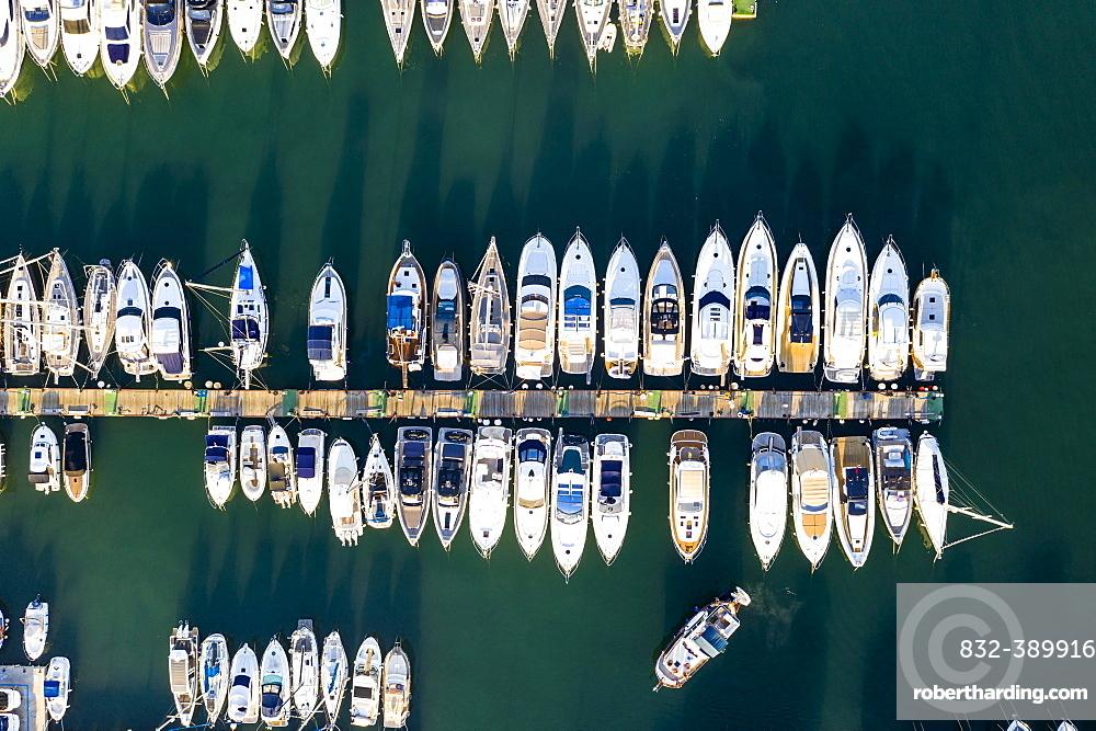 Andratx, Port d'Andratx, boats at the jetty from above, Majorca, Balearic Islands, Spain, Europe