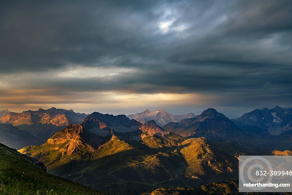 Dramatic light and cloud atmosphere over Allgaeu and Lechtal Alps, Baad, Kleinwalsertal, Vorarlberg, Austria, Europe