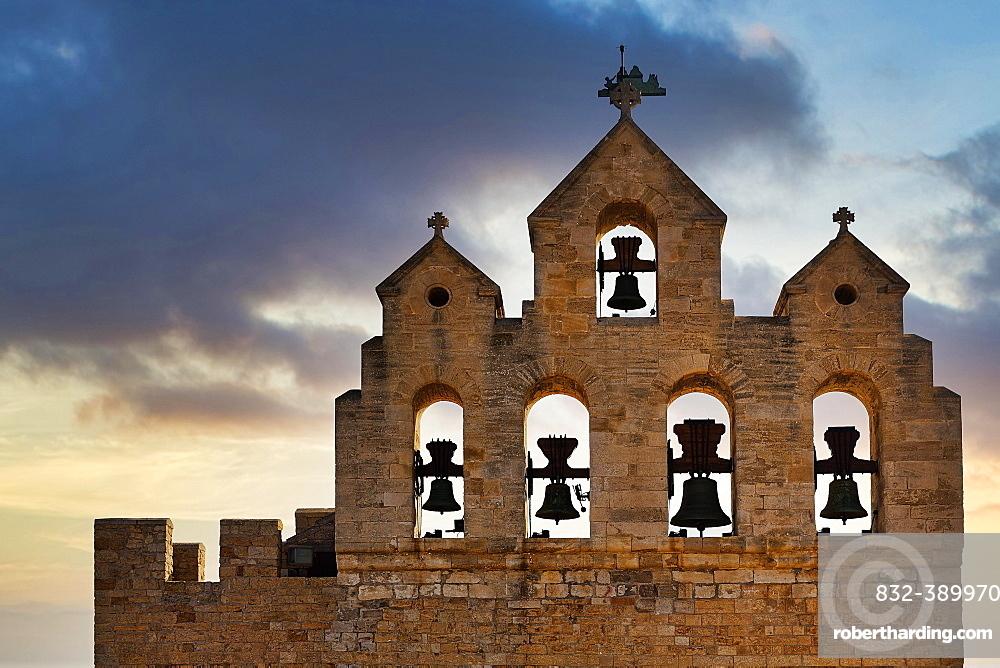Bell tower of the church Notre-Dame-de-la-Mer, Saintes-Maries-de-la-Mer, Camargue, Provence-Alpes-Cote d'Azur, France, Europe