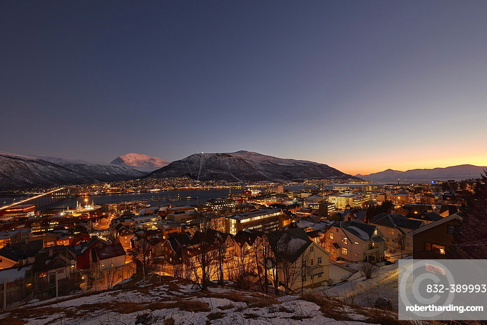 View of the city, light atmosphere in the polar night, Tromso, Troms, Norway, Europe