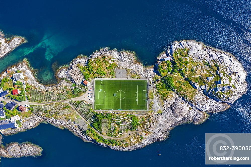 Aerial view, Henningsvaer with football stadium, rock island in the sea, Vestvagoy, Lofoten, Nordland, Norway, Europe