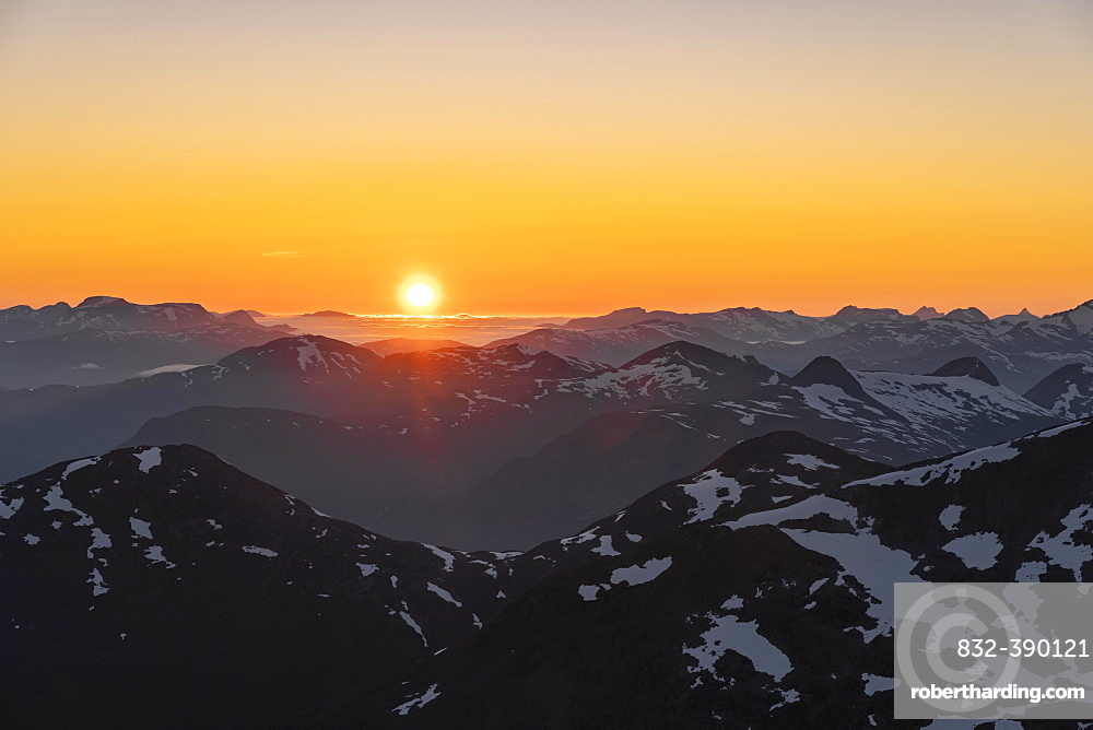 Evening atmosphere, Jostedalsbreen National Park, view from the top of Skala mountain, Breheimen mountain range, Stryn, Vestland, Norway, Europe