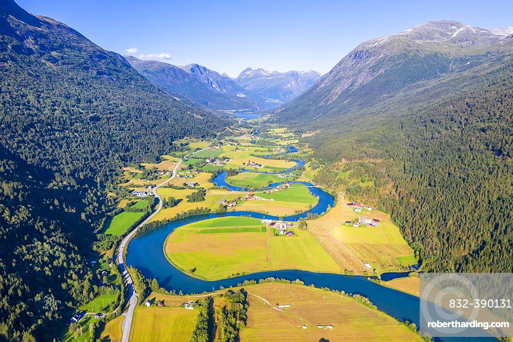 Aerial view, mountain valley with meandering river Stryneelva, Stryn, Vestland, Norway, Europe