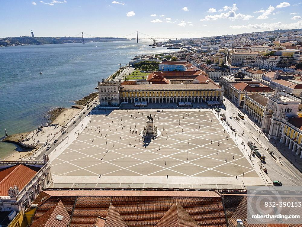 Square in center of Lisbon, Praca do Comercio, Portugal, Europe