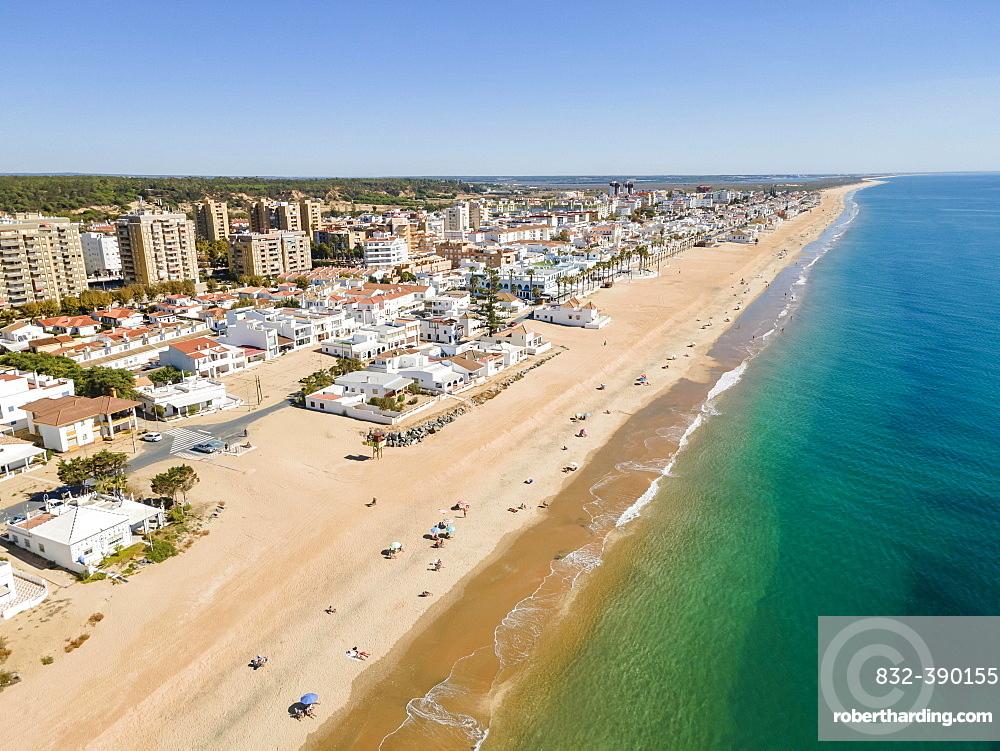 Aerial view of Islantilla, a seaside town full of resorts, Lepe, Huelva, Spain, Europe