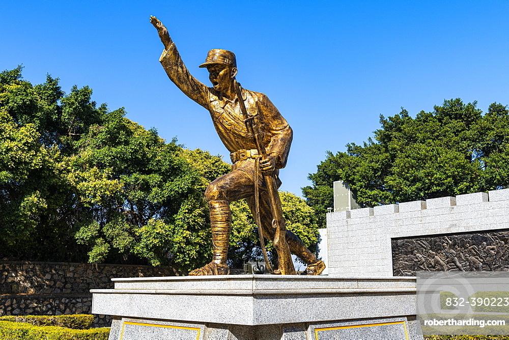 Golden statue at the Guningtou Battle Museum, Kinmen island, Taiwan, Asia