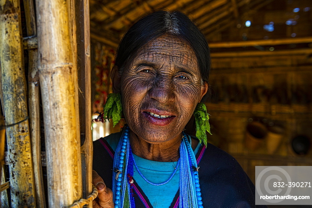 Chin woman with spiderweb tattoo, Kanpelet, Chin state, Myanmar, Asia