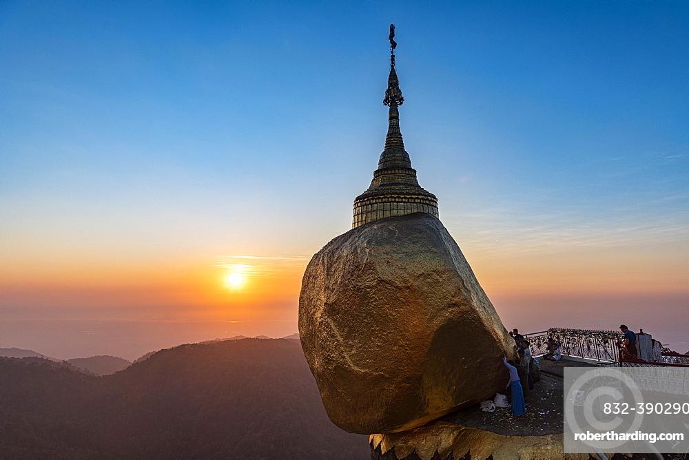 Kyaiktiyo Pagoda, golden rock at sunset, Mon state, Myanmar, Asia