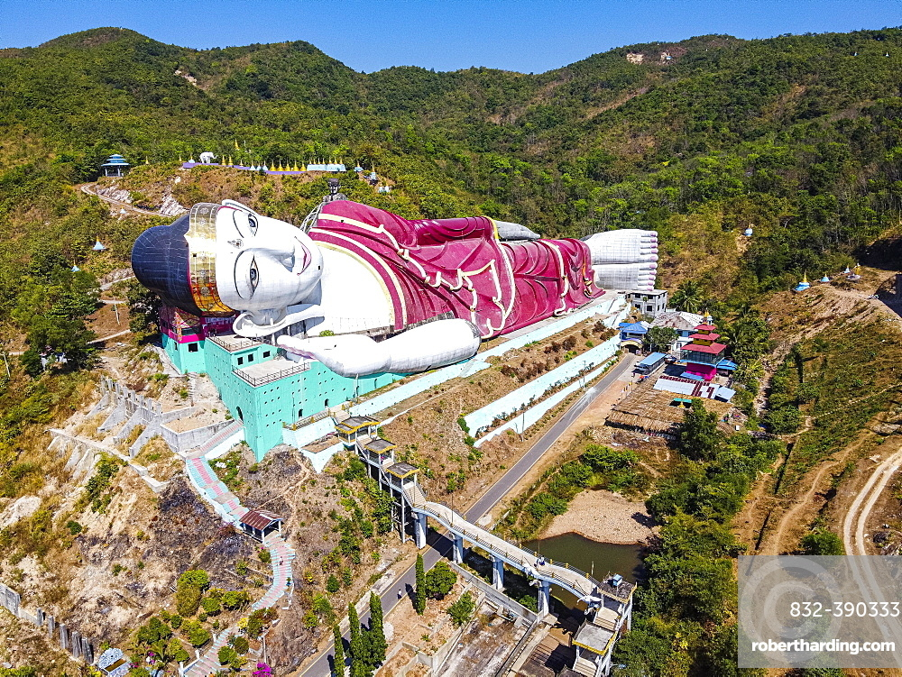 Aerial of a giant reclining buddha in Win Sein Taw Ya outside Mawlamyine, Mon state, Myanmar, Mudon, Mon State, Myanmar, Asia