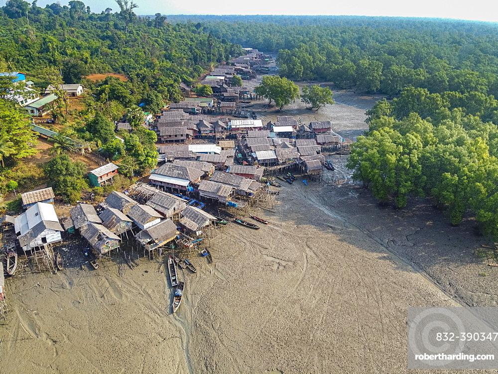 Aerial of Fishing village on stilts in the mangroves of the Mergui or Myeik Archipelago, Myanmar, Asia