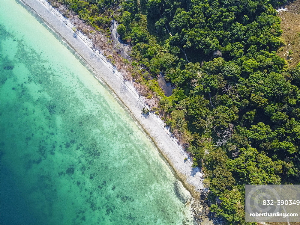 Aerial of a white sand beach on smart islandMergui or Myeik Archipelago, Myanmar, Asia