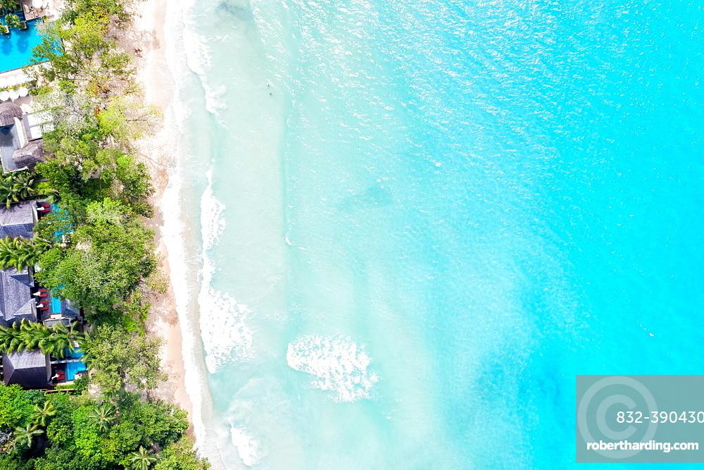 Seychelles beach Mahe Mahe island text free space copyspace sea drone image bird's eye view , Seychelles, Africa