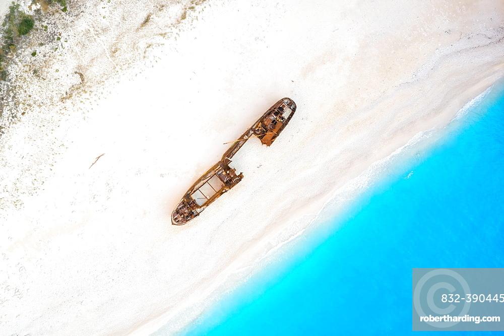 Beach shipwreck Navagio Beach drone shot bird's eye view, Zakynthos, Greece, Europe