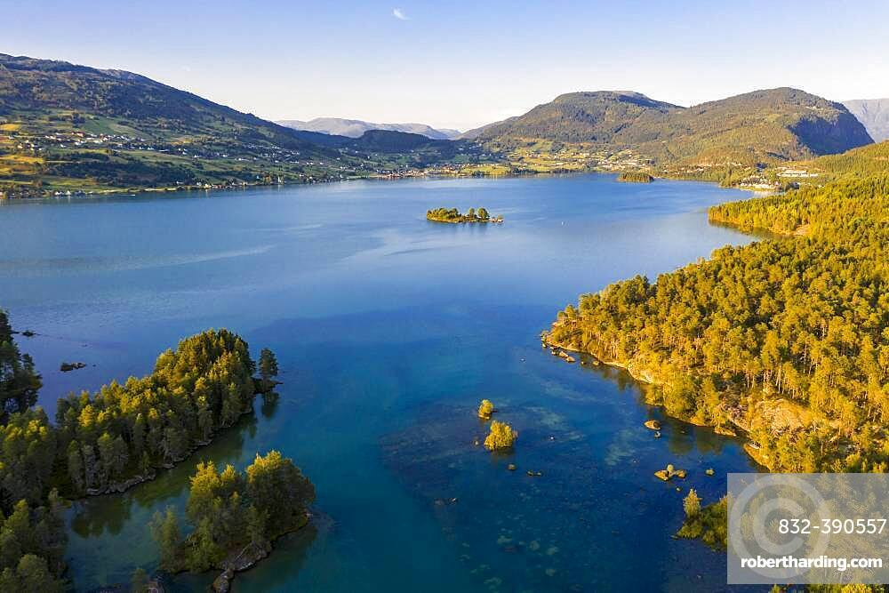 Aerial view, forest and landscape, evening mood at lake Hafslovatnet, Hafslo, Vestland, Norway, Europe