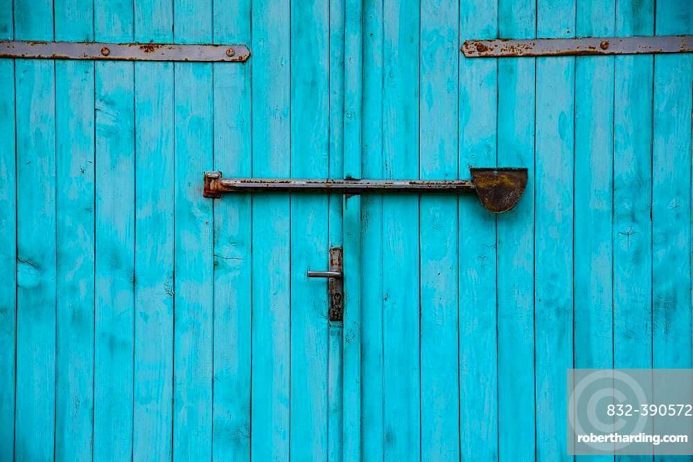 Turquoise garage door, detail, Mecklenburg-Western Pomerania, Germany, Europe