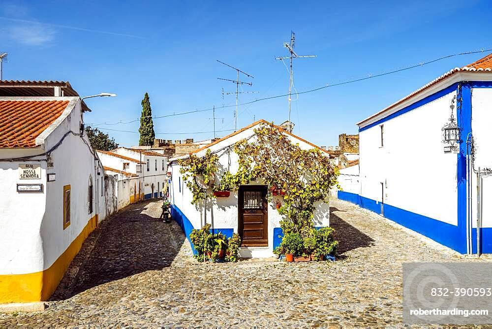 Charming whitewashed architecture of historical Vila Vicosa, Alentejo, Portugal, Europe