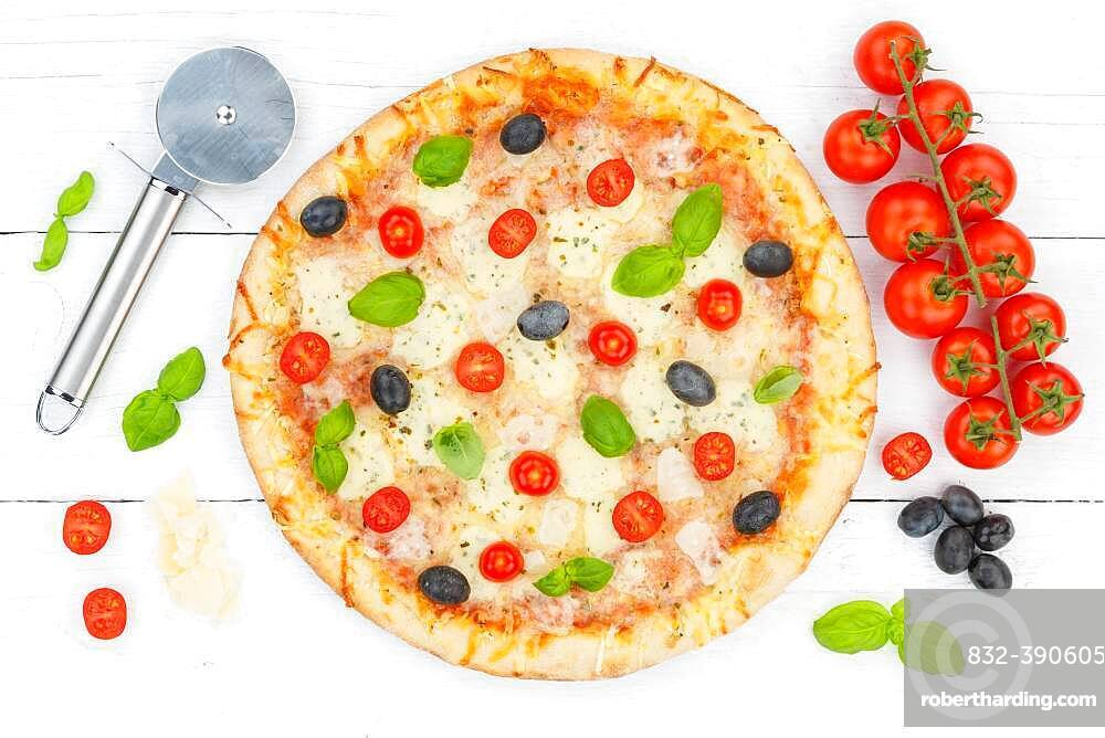 Pizza Margherita from above ingredients, Germany, Europe