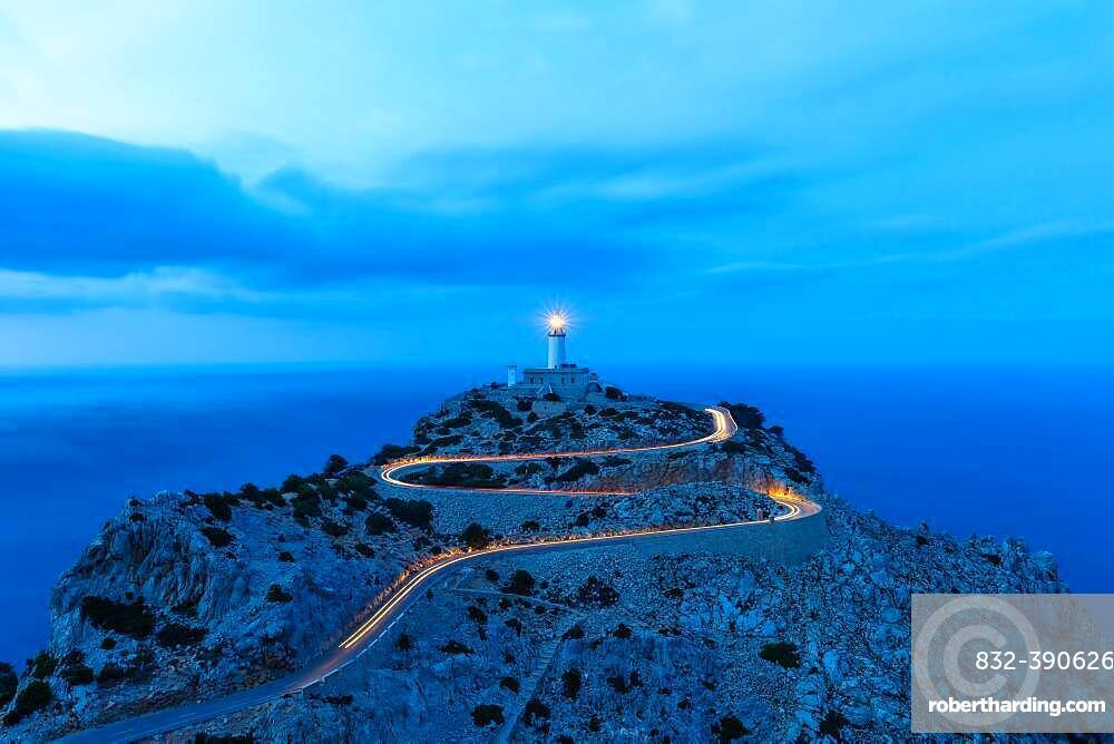 Cap Formentor evening night lighthouse sea text free space travel travel Spain tourism in Majorca, Spain, Europe