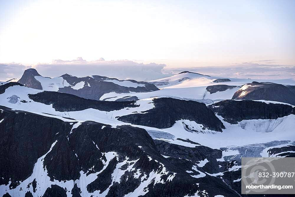 Evening atmosphere, glaciers and mountains in Jostedalsbreen National Park, view from the top of Skala mountain, Breheimen mountain range, Stryn, Vestland, Norway, Europe