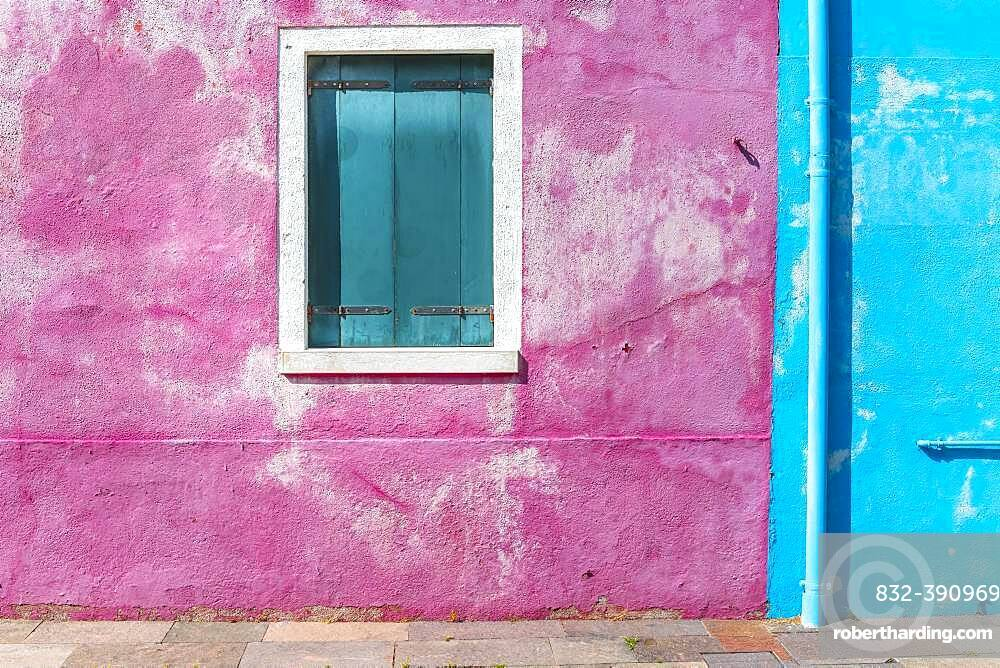 Window of a blue and pink house, colorful houses, colorful facade, Burano Island, Venice, Veneto, Italy, Europe