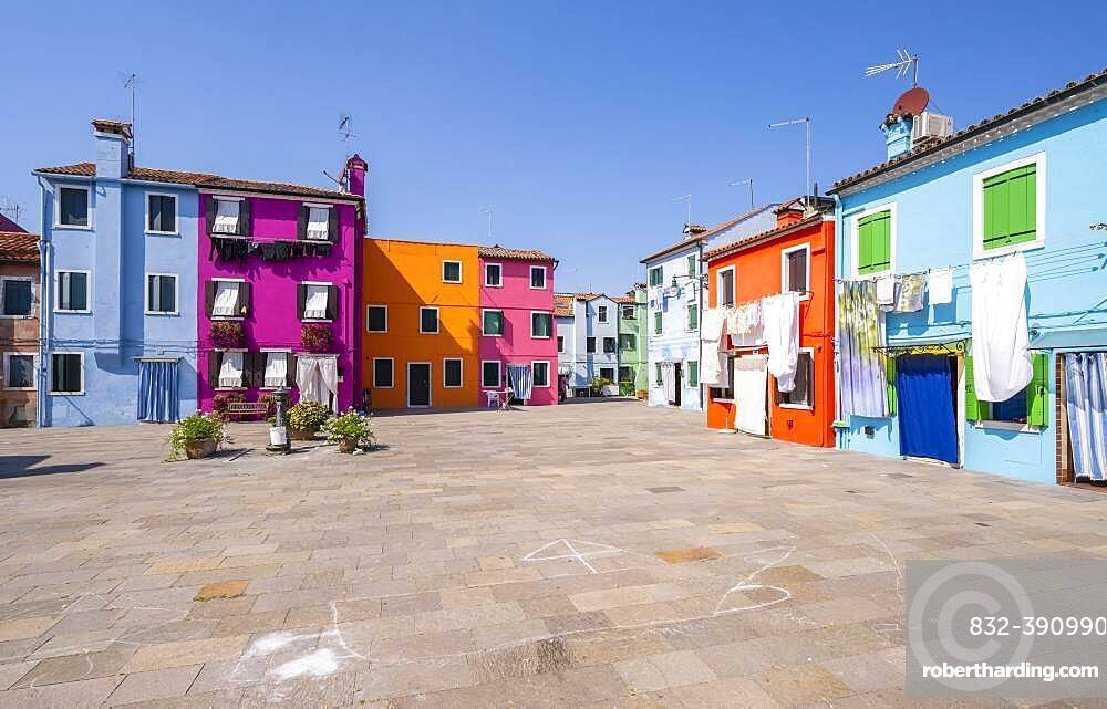 Colorful houses, colorful house facades, Burano Island, Venice, Veneto, Italy, Europe