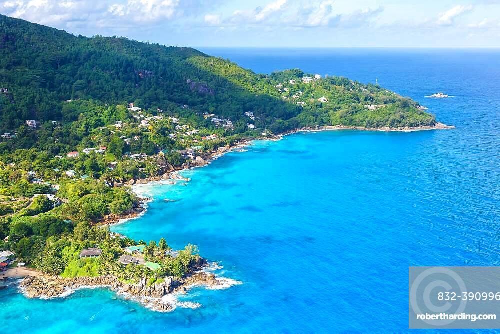 Landscape sea luxury villa beach ocean aerial view bird's eye view, Mahe, Seychelles, Africa