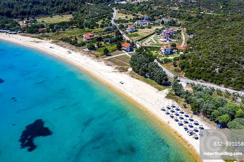Aerial of Destenika beach, Sithonia, Greece, Europe