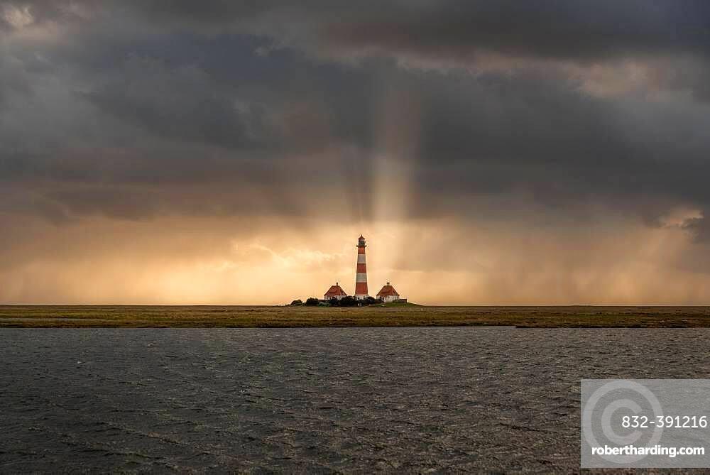 Lighthouse Westerheversand, Westerhever, North Sea, Schleswig-Holstein, Germany, Europe