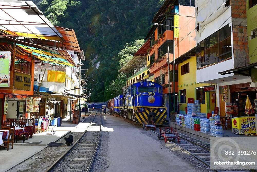 Railway tracks through the village of Aguas Calientes, Machu Picchu, Urubamba Province, Peru, South America