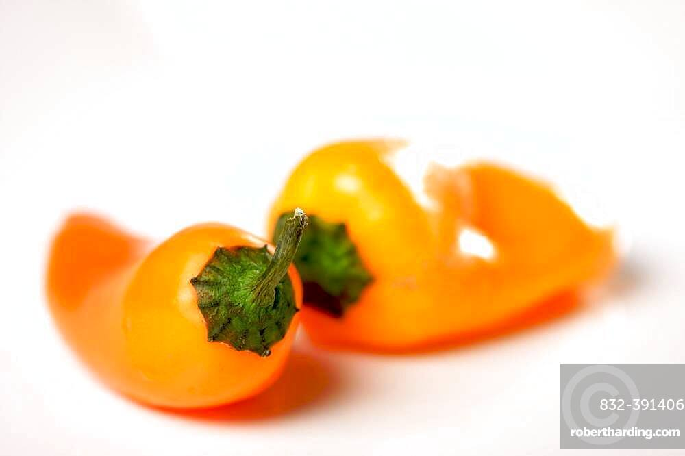 Sweet orange peppers on a white background