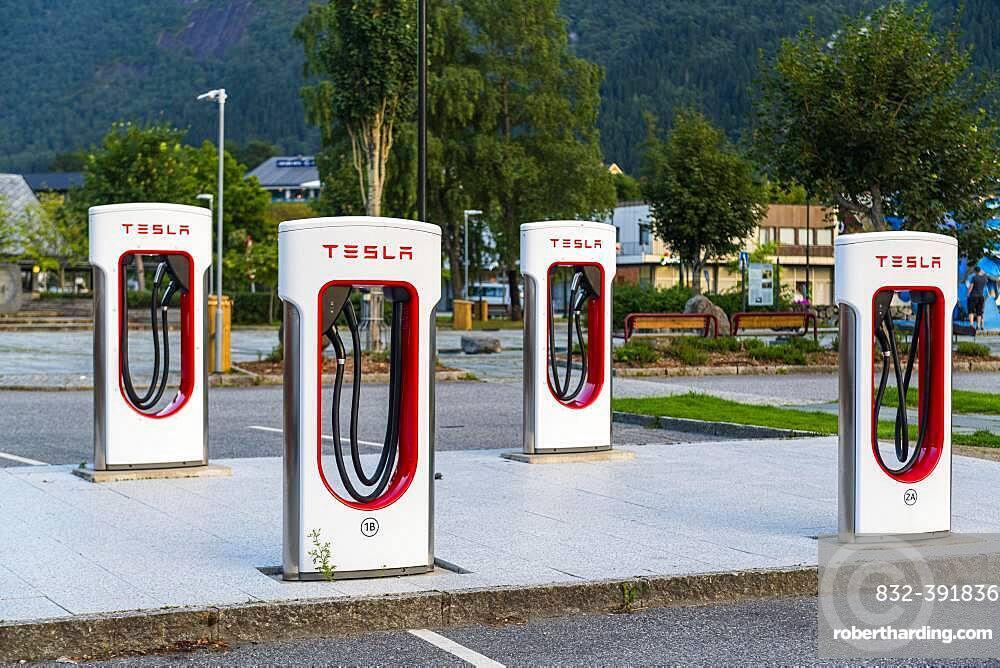 Tesla, Electric filling station, Eidfjord, Vestland, Norway, Europe