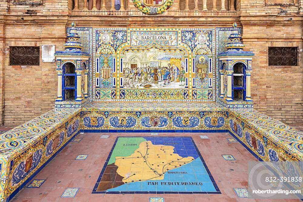 Azulejo tiles mosaic pictures, image of the city of Barcelona, Plaza de Espana, Seville, Andalusia, Spain, Europe
