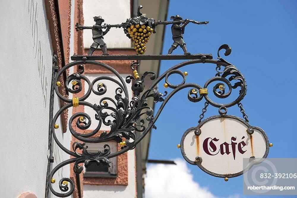 Old nose sign with golden grape, cafe, Bad Toelz, Upper Bavaria, Bavaria, Germany, Europe