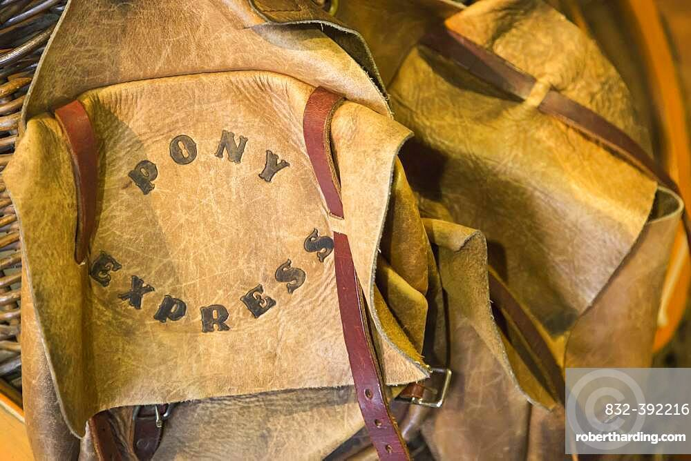 Vintage leather pony express saddle bags abstract