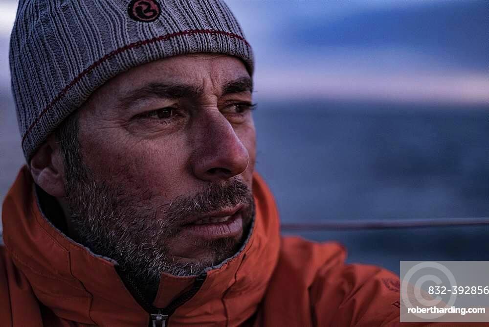 Single-handed sailor on the North Sea, portrait