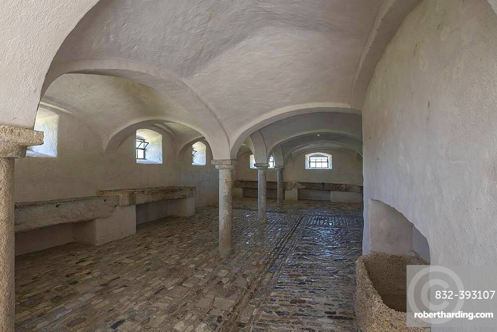 Horse stable in a historical farmhouse 18th century, Franconian Open Air Museum, Bad Windsheim, Middle Franconia, Bavaria, Germany, Europe