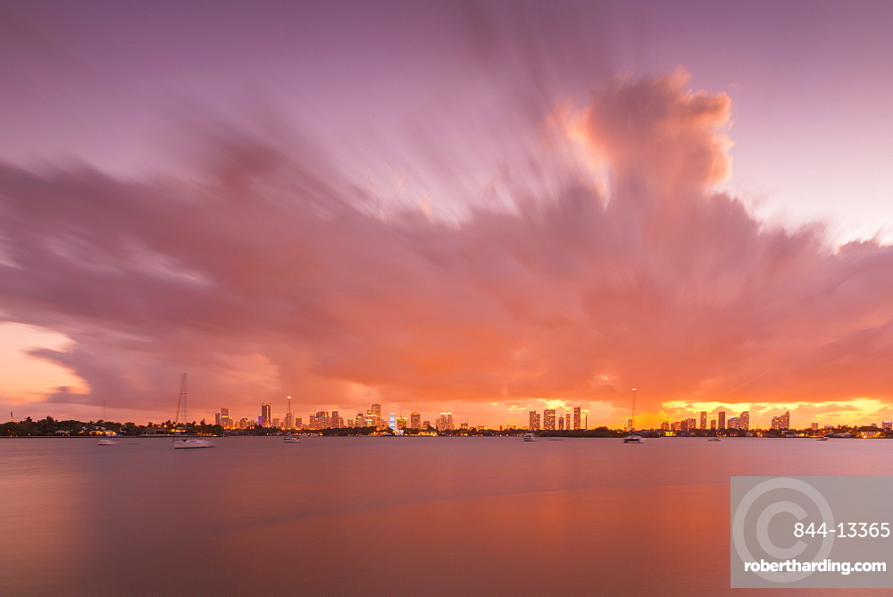 View of Downtown from South Beach at sunset, Miami Beach, Miami, Florida, United States of America, North America
