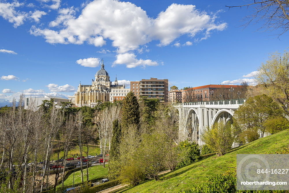 View of Madrid Cathedral on bright sunny day, Madrid, Spain, Europe