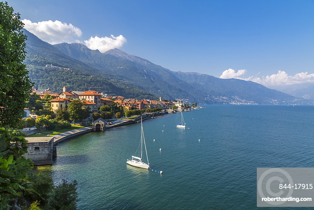 Elevated view of Cannobio and Lake Maggiore, Lake Maggiore, Piedmont, Italian Lakes, Italy, Europe
