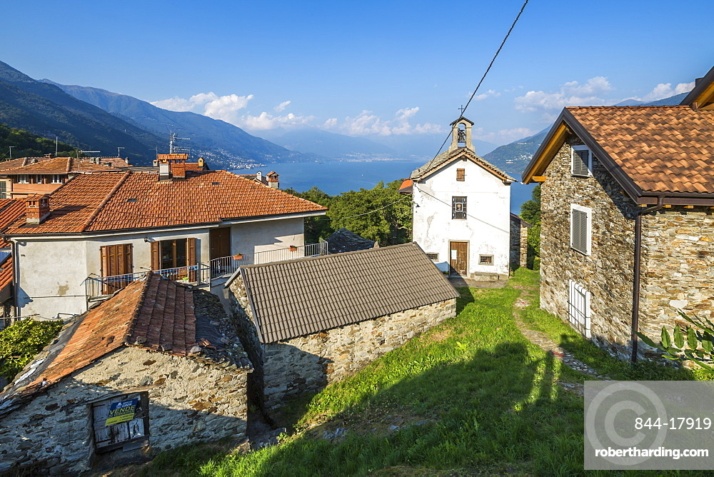 Elevated view of Lake Maggiore from hilltop village near Cannobio, Lake Maggiore, Piedmont, Italian Lakes, Italy, Europe