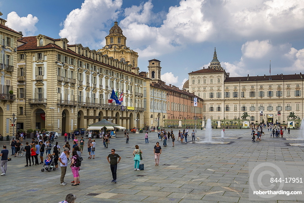 View of Armeria Reale and Piazza Castello, Turin, Piedmont, Italy, Europe