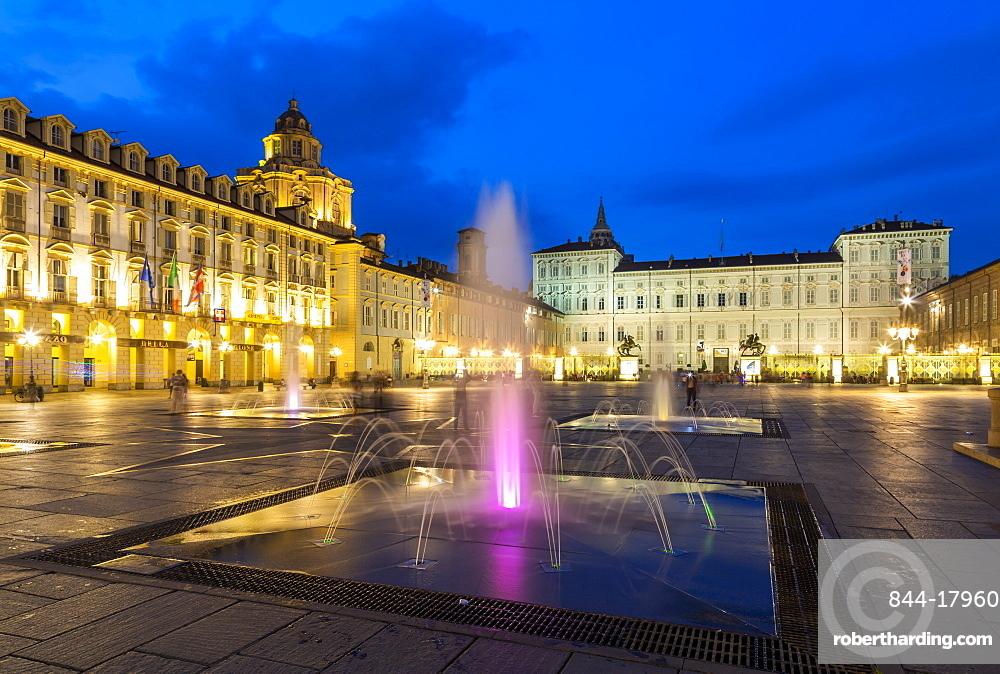View of Piazza Castello surrounded by Palazzo Madama and Palazzo Reale at dusk, Turin, Piedmont, Italy, Europe