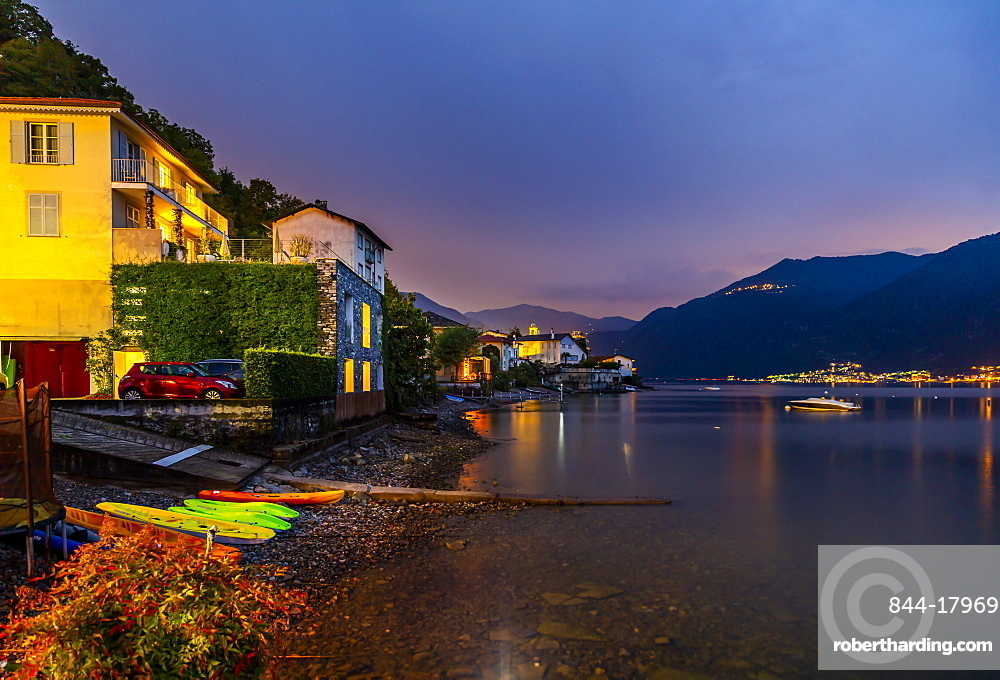 View of Lake Como from Lezzeno at dusk, Province of Como, Lake Como, Lombardy, Italian Lakes, Italy, Europe