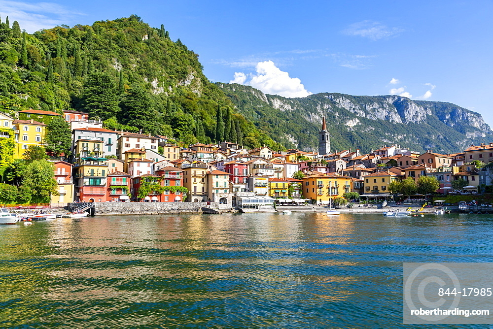 View of lake and village of Vezio, Province of Como, Lake Como, Lombardy, Italian Lakes, Italy, Europe