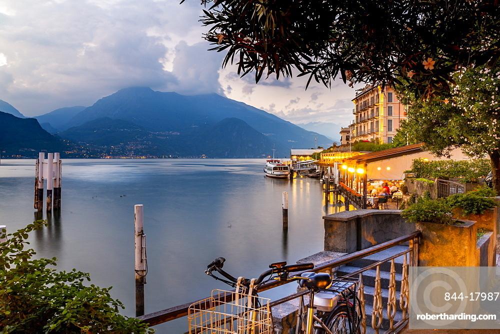 View of Lake Como and Bellagio at dusk, Province of Como, Lake Como, Lombardy, Italian Lakes, Italy, Europe