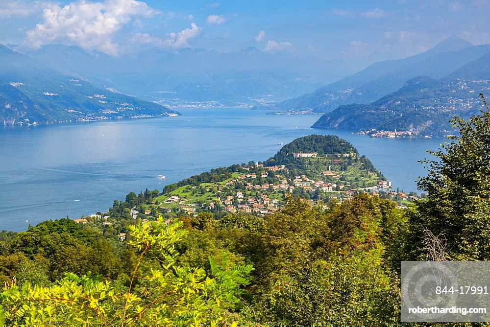 View of Bellagio, Lake Como and Vezio in distance, Province of Como, Lake Como, Lombardy, Italian Lakes, Italy, Europe